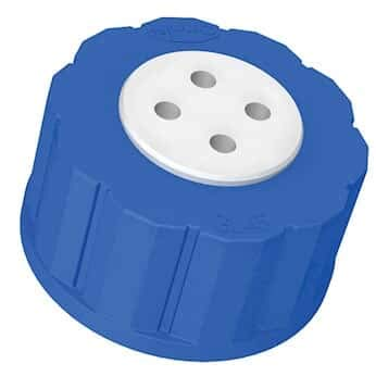 Diba Omnifit T-Series Solvent Bottle Cap, GL45, 4 Luer Ports Without Valve, Blue; 1/ea
