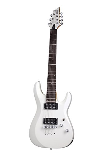 Schecter C-7 DELUXE Satin White 7-String Solid-Body Electric Guitar, Satin White