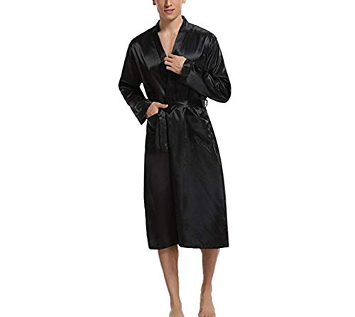 Notte Raso Men Bath In Sleepwear Manica Clothes Setoso Gray Satin Kimono Blu Availcx Gown Lunga Pigiama Morbido Home Da 2019 Room P5Cq5pxTw