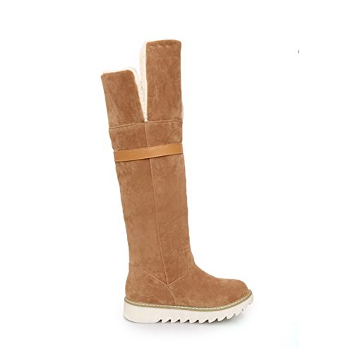 Closed Frosted on Boots Low Pull Heels Round Women's Toe Brown Solid AgooLar 4z0WpwxIqW