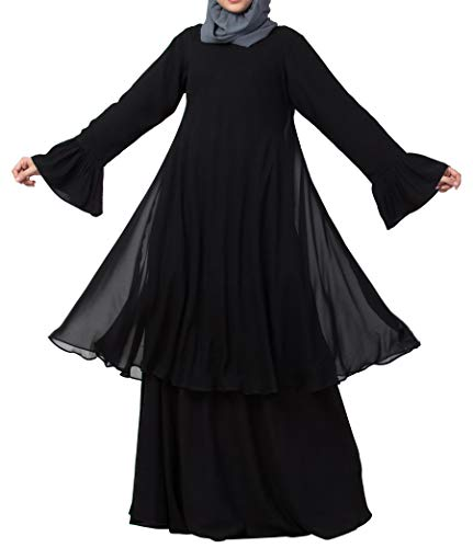 Mushkiya Dual layer Modest Abaya Dress With Bell Sleeves for Women & Girls (DSAB-166-Black)