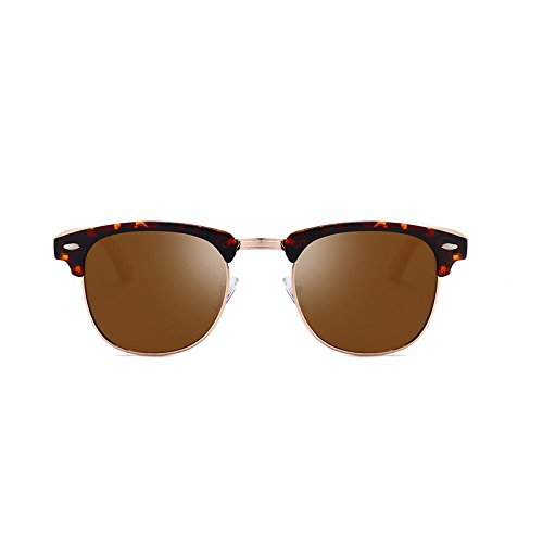 de Box Glasses Leopard Gafas Joker Fishing Box Color Wood Polarizer Grain Sol Tea Tea Hombres Bamboo Sunglasses Grain Mirror Leopard aFqY56w6