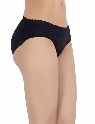 iB-iP Mujer Algodón Mezcla Escritos Panty Invis De Poca Altura Pantalón Hipster Negro