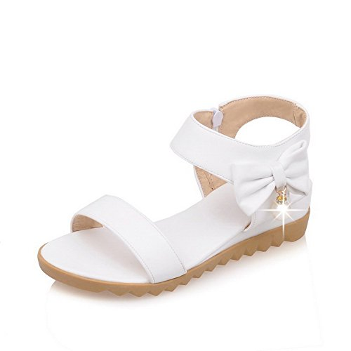 AmoonyFashion Womens Open Toe Low-heels Soft Material Solid Zipper Wedges-Sandals White QxMpdd