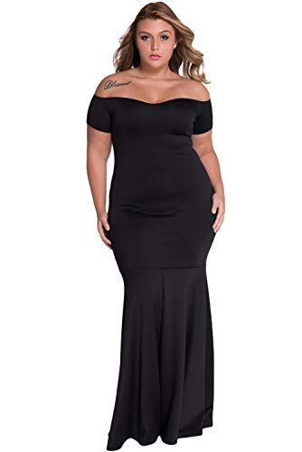 Foryingni Women's Plus Size Off Shoulder Long Formal Dress 3XL -