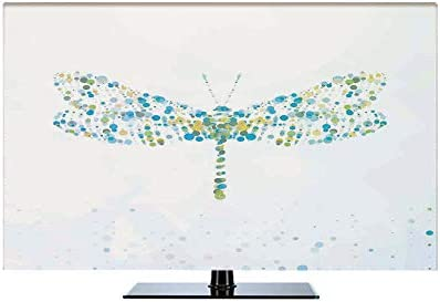トンボ ディスプレイカバー モニター 65Vのテレビに適用 ガーデン用 屋内用 防塵 多機能 屋内 おしゃれ 斑点とドットで作られたマクロ未来デジタルトンボフィギュアダイナミック昆虫 ブルーグリーン