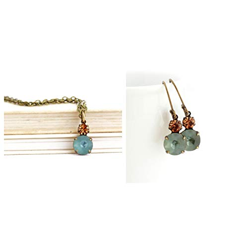 - Smokey Blue and Amber Vintage Rhinestone Jewel Earrings and Necklace Gift Set