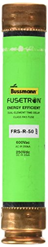 Bussmann FRS-R-50 Tron FRS-R Energy Efficient Non-Indicating Time Delay Fuse, 600 Vac/250 Vdc, 50 Amp (Tron Time Delay Fuse)
