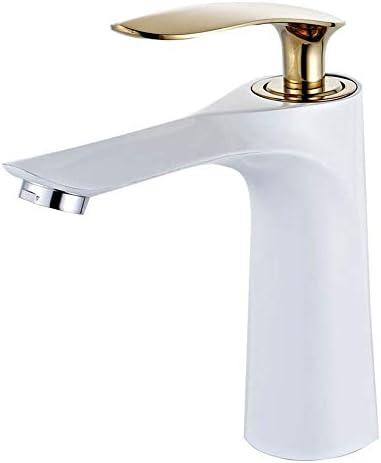 毎日の装飾温水と冷水の蛇口モダンなミニマリストの雰囲気ホワイトペイント金メッキの洗面器単一穴ステンレス鋼バスルーム設置が簡単変形しにくい耐久性のある蛇口