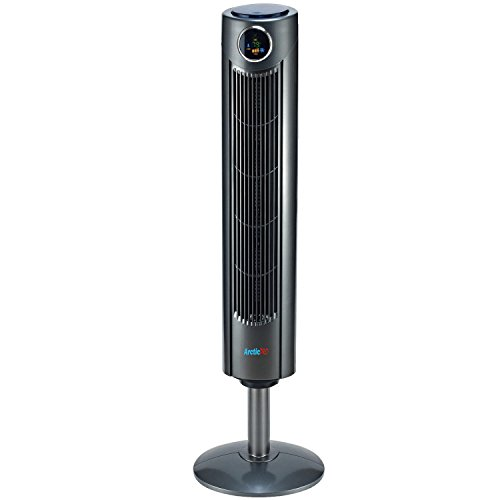Arctic-Pro Digital Screen Oscillating Tower Fan with Remote Control, Dark Gray, 42-Inch
