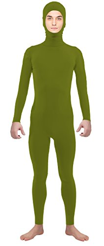 VSVO Adult Army Green Open Face Supersuit Without Gloves and Socks Costumes (Medium, Army Green) (Superman Leotard)