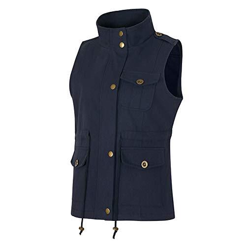Bouton Manteau Poche Zipper xxl Veste Lacets Bleu Manches Femme Revers 4 S Couleurs Unie Sans Mode Avec Gilet fcwXyqPp