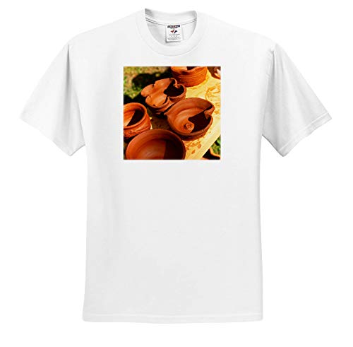 3dRose Alexis Photography - Objects Kitchenware - Freshly Made Earthenware is Drying Under The Direct Sunlight - T-Shirts - Toddler T-Shirt (4T) (ts_307646_17) White