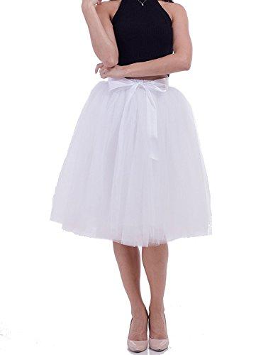 Women's High Waist Elastic Princess A Line Midi/Knee Length Tulle Skirt Bowknot Layered Tulle Party Skirt (White) ()