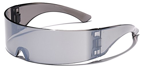 [Futuristic Cyclops Robocop Shield Wrap Around Mirrored Sunglasses] (Women X Men Costumes)