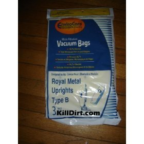 3 Royal Upright Type B Vacuum Cleaner Allergy Bags, Top Full Vacuum Cleaners, RO-2-066247-001, Royal 3067247001, 3-067247-001, 3-671075-001, Royal 3671075001, 673Z, 7730Z, 673Z (Royal B Vacuum Bags compare prices)