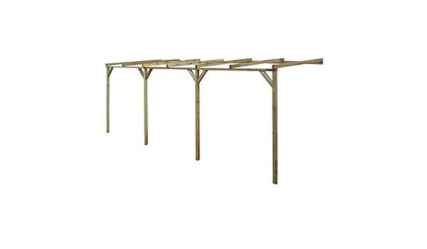 UnfadeMemory Pérgola Inclinada de Jardin,Techado para Coche,Muebles de Jardin,Madera de Pino Verde Impregnada (2x6x2,2m): Amazon.es: Hogar