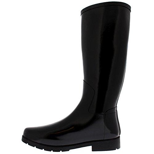 Das wasserdichte Regen-Winter-Feld-dünnes Schlamm-Festival-Schnee-Wellington der polaren Produkt-Frauen Schwarzer Glanz
