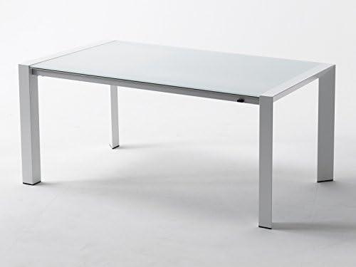 RD Italia - Mesa extensible de jardín Oeste de aluminio blanco y cristal blanco Outlet 170-256 x 90 cm: Amazon.es: Jardín