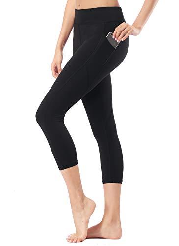 Dragon Fit Pockets Compression Yoga Pants Tummy Control 4 Way Stretch Workout Running Yoga Leggings Non See-Through (Medium, Pockets-Capri13-Black)