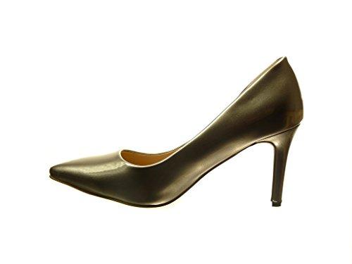 Angkorly - damen Schuhe Pumpe - Stiletto - Patent Stiletto high heel 8.5 CM - Gold