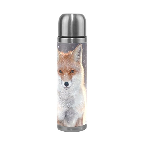 ALAZA Red Fox Water Bottle Double Wall Stainless Steel Vacuum Insulated Thermos Flask Genuine Leathe Cover 17 Oz 100% Leak Proof ()