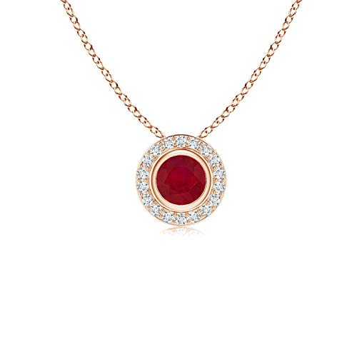 Round Bezel-Set Ruby Pendant with Diamond Halo in 14K Rose Gold (4mm Ruby) ()