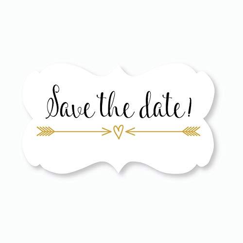 36ct - Save The Date Wedding Envelope Seals (#366) (Gold/Black) -