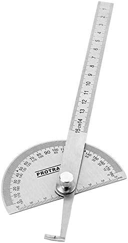 TOOLSTAR Rotary Protractor Stainless Steel 180 Degree 0-150cm Angle Ruler Carpenter Ruler Protractor Carpenter Woodworking Tool