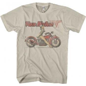 (FEA Van Halen Biker Pinup Beige Mens T-shirt Small)