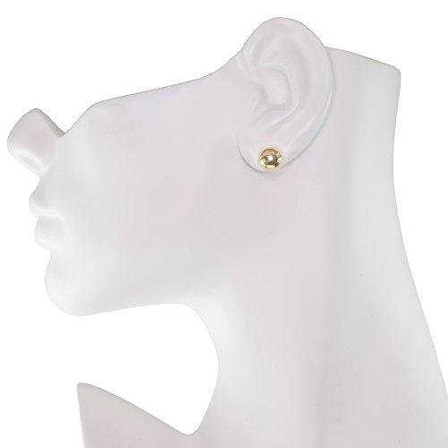 Premium 14K Yellow Gold Ball Stud Earrings (9mm - Yellow Gold) by Honolulu Jewelry Company (Image #2)