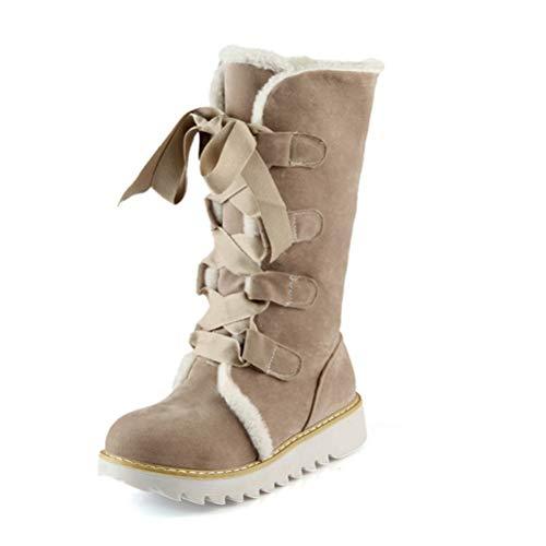 T-JULY Girls Casual Mid Calf Boots Woman Leopard Flat Platform Comfort Winter Snow Boots Shoes Plus Size EUR 35-43 Beige ()