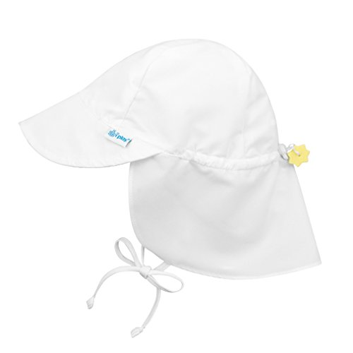Girls Sun Hat Cap - i play. Baby Flap Sun Protection Swim Hat, White, 0-6 Months