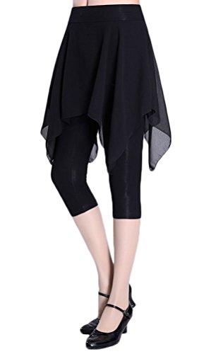 Zukzi Women's Asymmetric Dance Skorts Yoga Skirt Leggings Capri, Black, Small