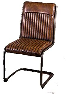f4b436e5fce1 Peppermill Interiors RETRO STYLE UPHOLSTERED DINING CHAIR LEATHER LOOK  COLOURFUL CHAIRS (Vintage Brown)