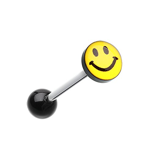 14G Smiley Face Logo Acrylic Barbell Inspiration Dezigns Tongue Ring (Sold Individually)