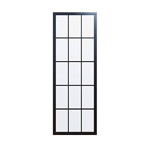 (DIYHD TSD01 30 X 86.5inch Steel Framed Slab Interior Clear Tempered Glass Sliding Barn Door Panel, 3086.5inch Black)