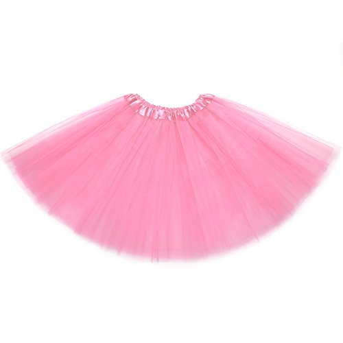 OMorc 3-Layered Tulle Tutu Skirt with Elastic Waistband, Perfect for Dance Classes, Parties, Costumes (Pink)