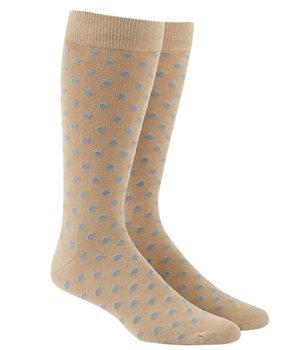 Dot Socks - The Tie Bar Circuit Dots Khaki and Light Blue Men's Cotton Blend Dress Socks