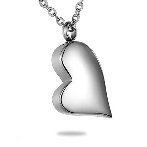 HooAMI High Polished Heart Cremation Jewelry Keepsake Memorial Urn -