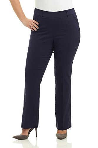 Dress Pants Navy Blue Slacks (Rekucci Curvy Woman Ease in to Comfort Fit Barely Bootcut Plus Size Pant (14W,Navy))