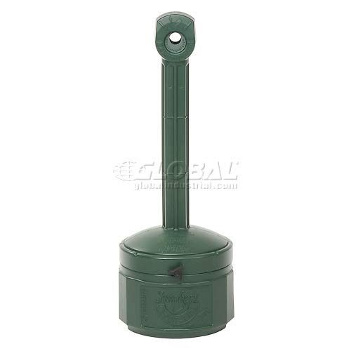 Justrite Smokers Cease Fire Cigarette Butt Receptacle 1 Gallon Green (3 Pack)