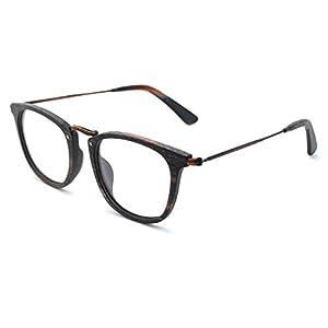 TIJN Retro Wood Wayfarer Eyeglasses Frame Faux Wooden Glasses