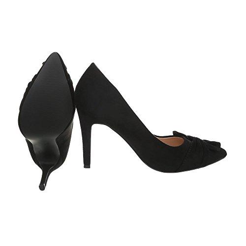 Ital-Design High Heel Pumps Damenschuhe Pfennig-/Stilettoabsatz Heels Schwarz 7565
