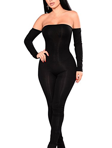 GOBLES Women Sexy Off Shoulder Lace Up Backless One Piece Jumpsuit (Black, L)