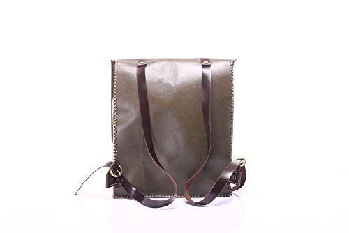 Green Leather Handmade Backpack