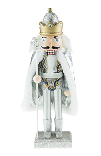 Clever Creations Traditional Snow King with Snowflake Staff | Festive Christmas Decorations | Silver, Gold and Diamonds Outfit | Stands at 10