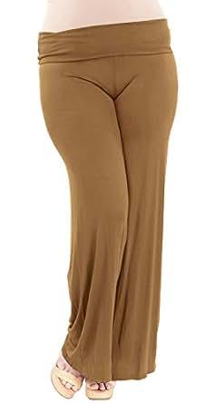 Mocha Woman Plus Size Wide Leg Modal Spandex Yoga Pants