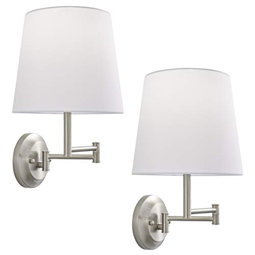 Lemanca Swing Arm Wall Lamp | Brushed Nickel Wall Sconces Set of Two LL-WL708-1BN-2PACK