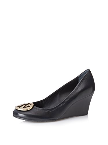 Tory Burch Shoes Leather Sally Wedge Metal Logo (8, Black Gold) by Tory Burch